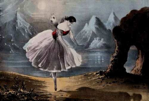 Lithograph of the ballerina Carlotta Grisi (1819-1899) in the Dance of the Shadow