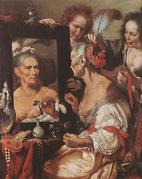 """Old Woman at the Mirror"" by Bernardo Strozzi, circa 1615"