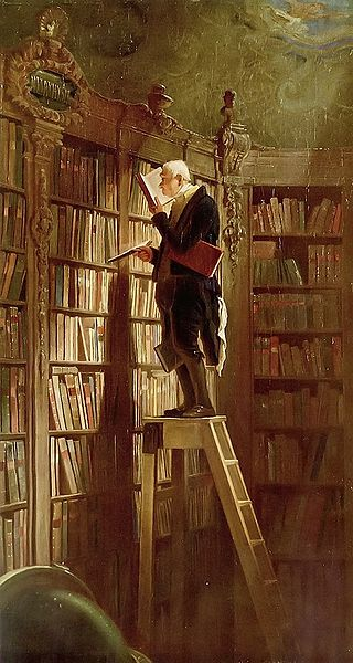 """The Bookworm"" by Carl Spitzweg, circa 1850"