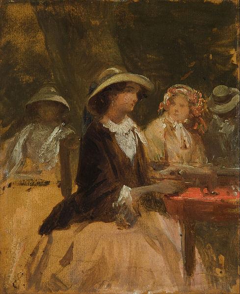 """""""In the Garden Restaurant"""" by Josef Navrátil (1798-1865)"""
