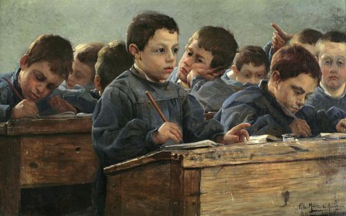 """In the Classroom"" by Paul Louis Martin des Amoignes, 1886"