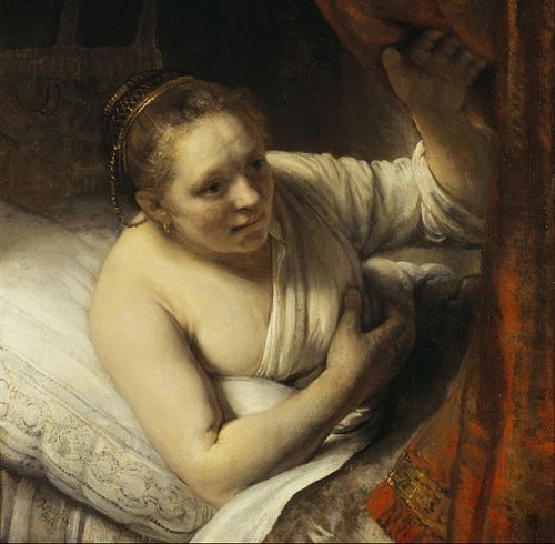 """A Woman in Bed"" by Rembrandt, 1645"