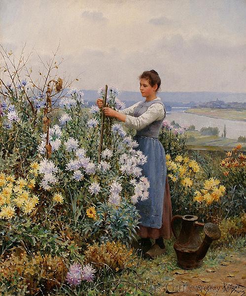 """Chrysanthemums"" by Daniel Ridgway Knight, 1898"