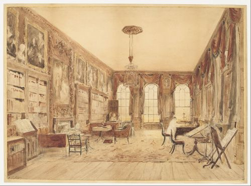 """""""The Interior of the Library at Cassiobury"""" by Augustus Charles Pugin, before 1816"""