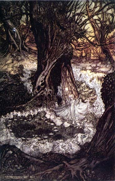 Illustration of Fairy Ring by Arthur Rackham, 1908