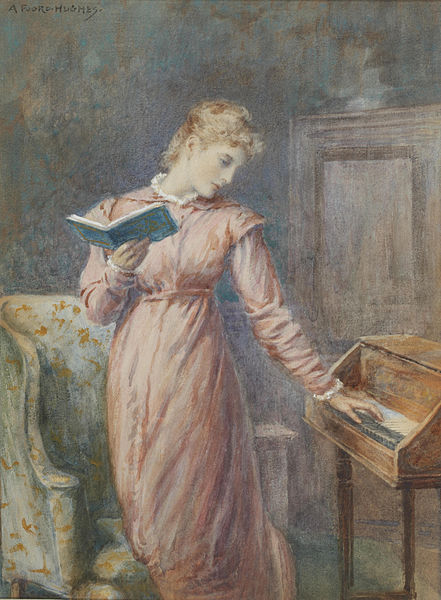 """A Lady Reading While Playing the Spinet"" by Arthur Foord Hughes, 1914"