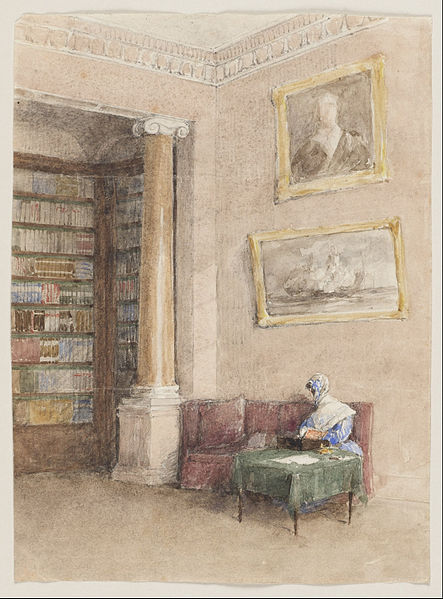 """Library"" by unknown artist, 1850s"