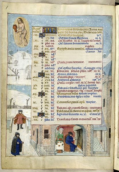 Page for January, British Library (1480s)