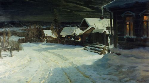 """Winter Evening in Maloyaroslavets"" by Evgeny Mikhailovich Pozdniakov, 1958 (Иванов С.В., source/photographer)"