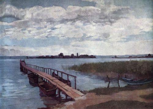"""""""Bootssteg auf der Herreninsel im Chiemsee"""" by Wilhelm Trübner, 1874"""