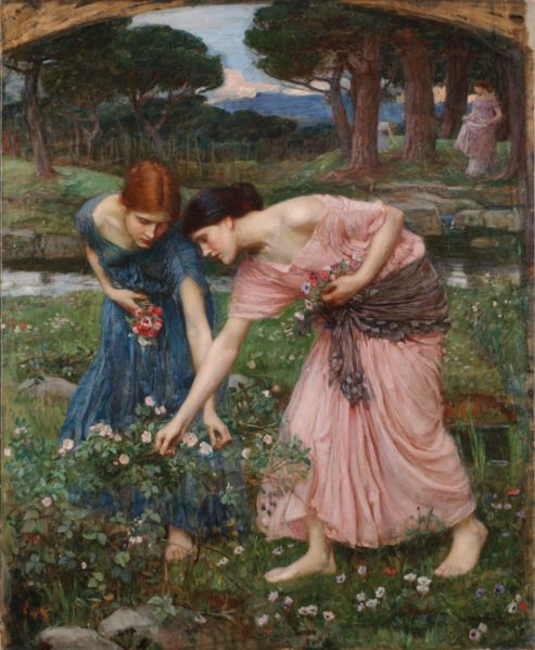 """Gather ye rosebuds while ye may"" by John William Waterhouse, 1909"