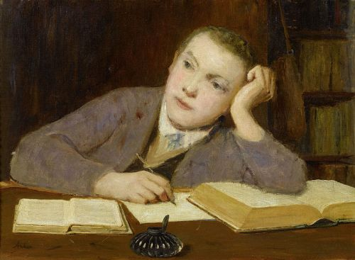 """""""Schreibender Knabe"""" (""""Writing Boy"""") by Albert Anker, circa 1908"""