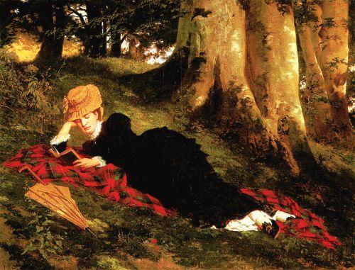 """""""Olvasó nő az erdőben"""" (""""Reading Woman in the Forest"""") by Benczúr Gyula, 1875"""