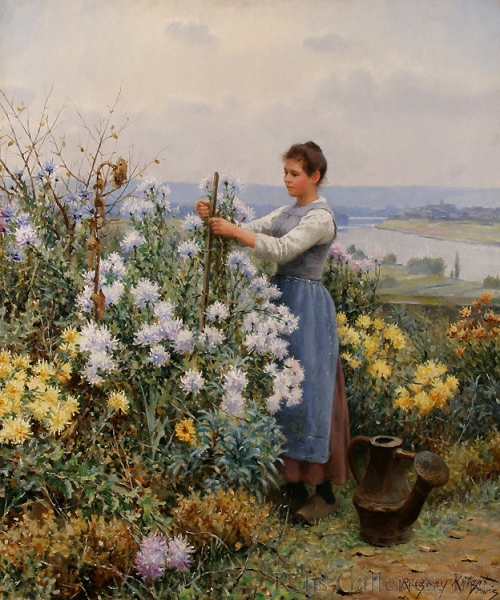 """Chrysanthemums"" by Daniel Ridgway Knight, circa 1898"