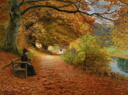 """A Wooded Path in Autumn"" by Hans Andersen Brendekilde, 1902"