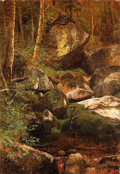 """Forest Stream"" by Albert Bierstadt (1830-1902)"