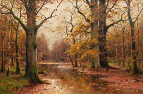 """Autumnal Forest with Houses"" by Walter Moras (1856-1925)"