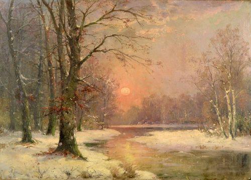 """""""Sunset in Winter Landscape"""" by Adolf Kaufmann (1848-1916)"""