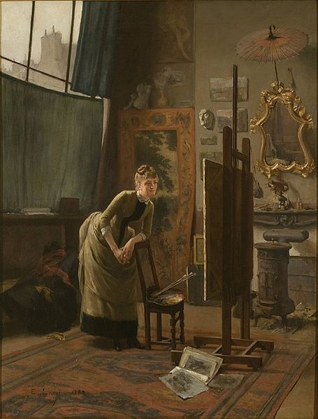 """Admiratrice dans l'atelier"" (""Admirer in the Workshop"") by Étienne Leroy, 1885"