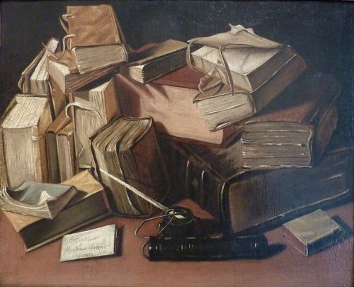 """""""Still Life with Old Books"""" by Jacques Bizet (photo by Pethrus)"""