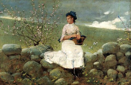 """Peach Blossoms"" by Winslow Homer, 1878"