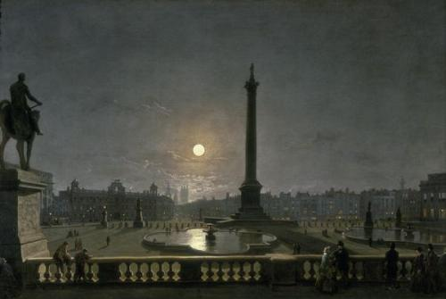 """Trafalgar Square by Moonlight"" by Henry Pether, circa 1865"