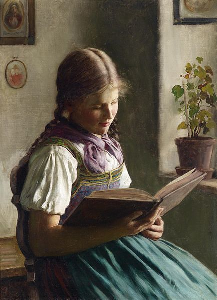 """Lesendes Mädchen"" (""Reading Girl"") by Emil Rau (1858-1937)"
