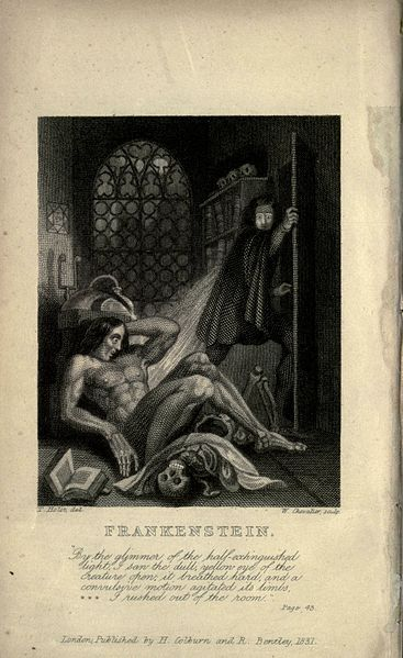 "Inside cover art from the 1831 edition of ""Frankenstein"""