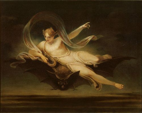 """Ariel on a Bat's Back"" by Henry Singleton (1766-1839)"
