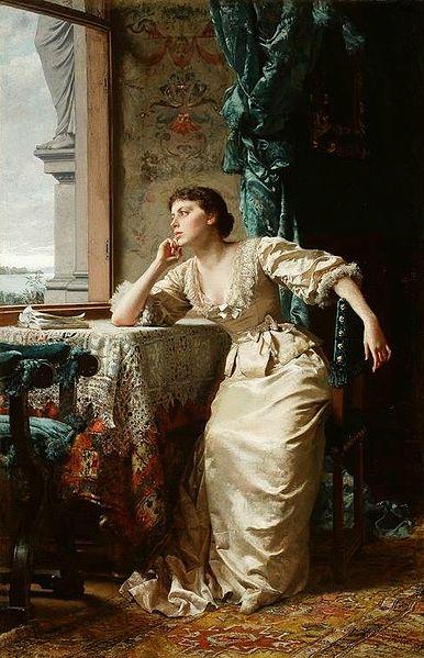 """""""Pensive"""" by Władysław Czachórski, 1883"""