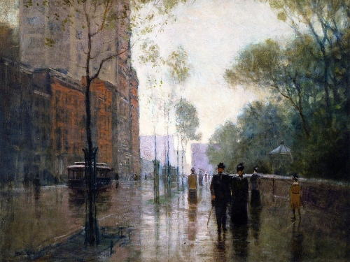 """A Rainy Day in New York City"" by Paul Cornoyer, circa 1905"
