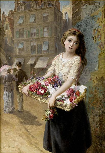 """""""A Street Flower Seller"""" by Augustus Edwin Mulready, 1882"""