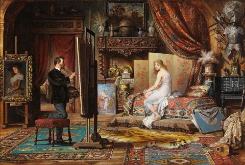 """The Artist and His Model"" by Carl Schweninger (1854-1912)"