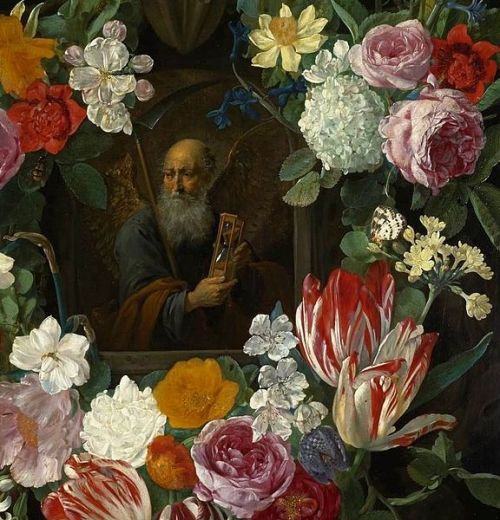 """Personification of Time in a Flower Garland"" by Carstian Luyckx, 1650"