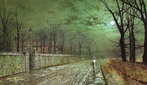 """A Moonlit Evening"" by John Atkinson Grimshaw, 1880"