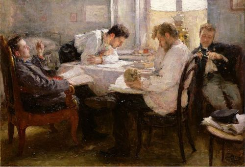 """The Night before the Exam"" by Leonid Pasternak, 1895"