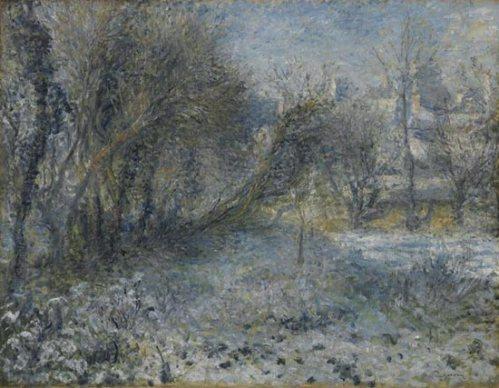 """""""Snowy Landscape"""" by Pierre-Auguste Renoir, 1870-1875"""